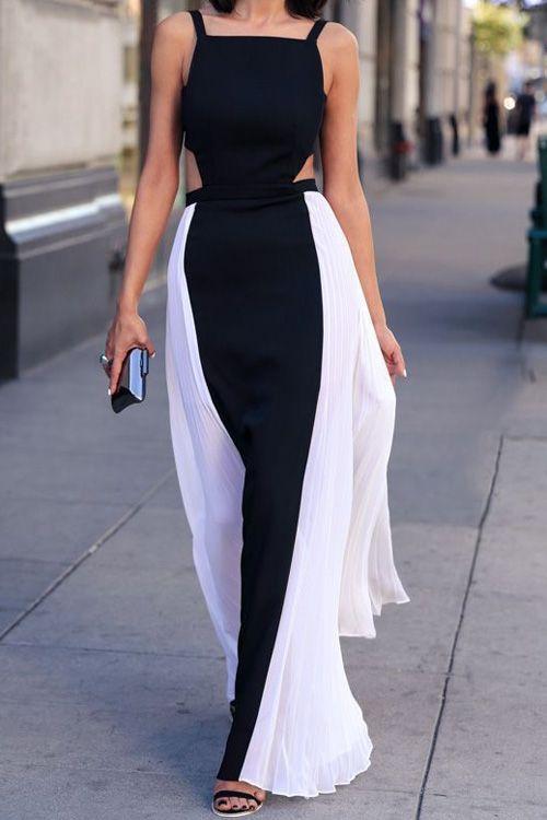 Spaghetti Strap Black White Splicing Backless Maxi Dress