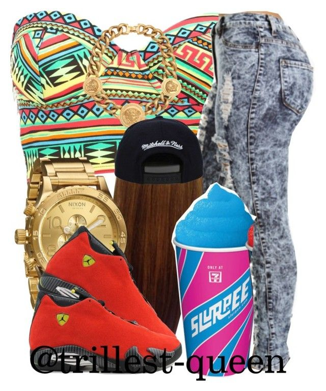"""Geting Slushie at 7/11 (Ariana's Outfit)"" by trillest-queen ❤ liked on Polyvore featuring Charlotte Russe, Versace, Nixon, Therapy and Ferrari"