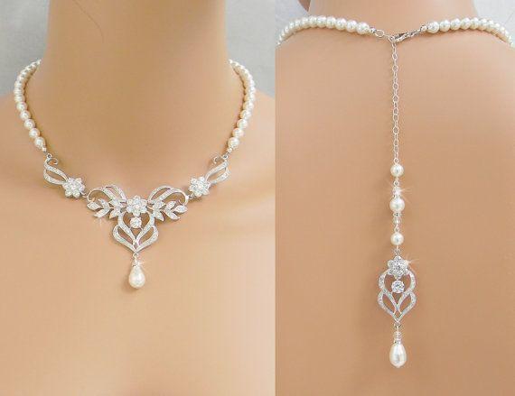 Bridal Necklace Wedding Back drop Necklace Pearl by CrystalAvenues