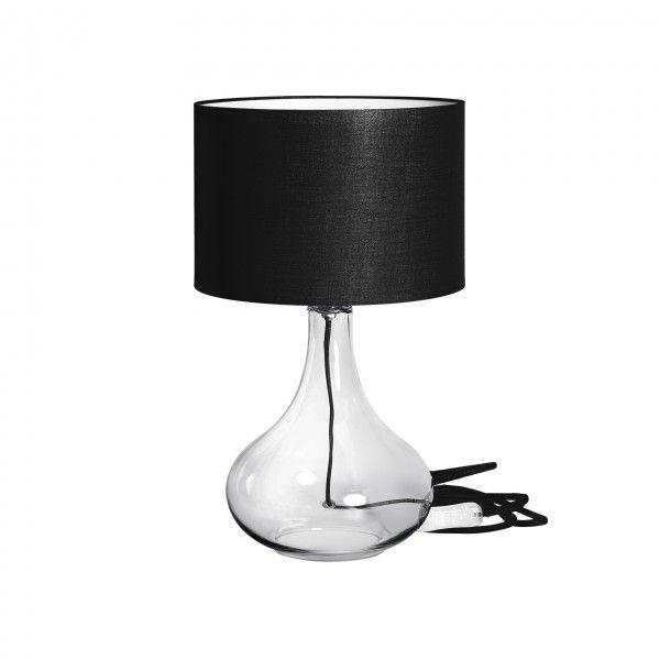 Abajur Incolore G, base transparente, fio e cupula preto,  Medidas: 30x50cm,  Material: Vidro e tecido,  Cor: Transparente e preto