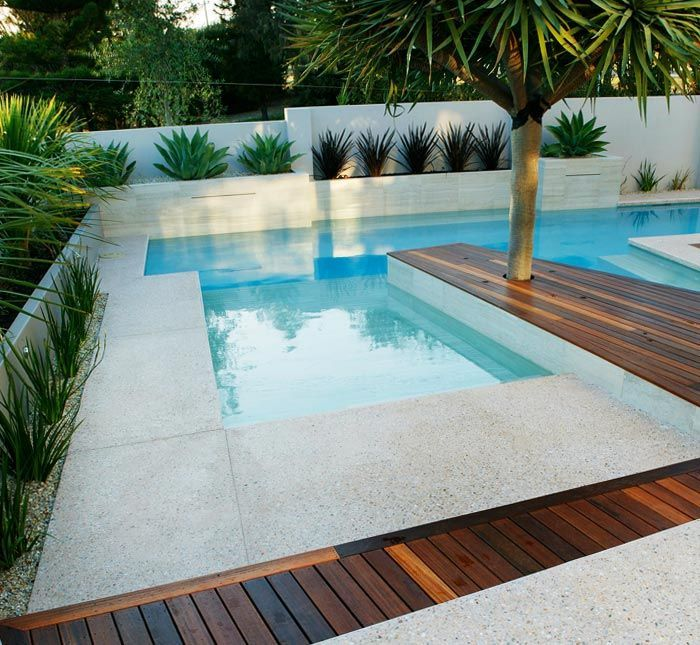 Image result for rectangular pool with white block wall surround