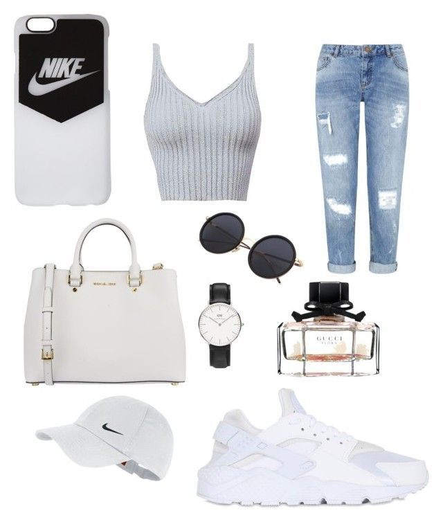 """City look "" by yasmin-bach-rasmussen on Polyvore featuring NIKE, Miss Selfridge, MICHAEL Michael Kors, Daniel Wellington and Gucci"