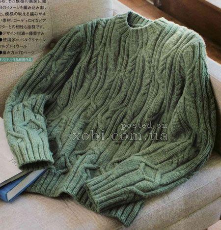 зеленый пуловер с аранами