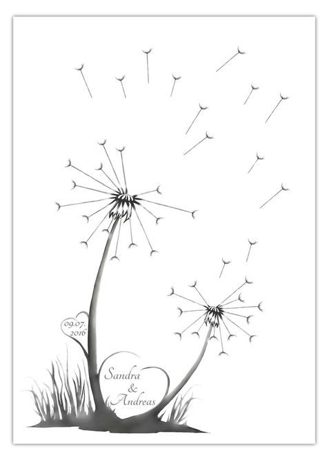 The fingerprint dandelion is great as an alternative to the ordinary guest book for the wedding. Every guest leaves his fingerpr ...