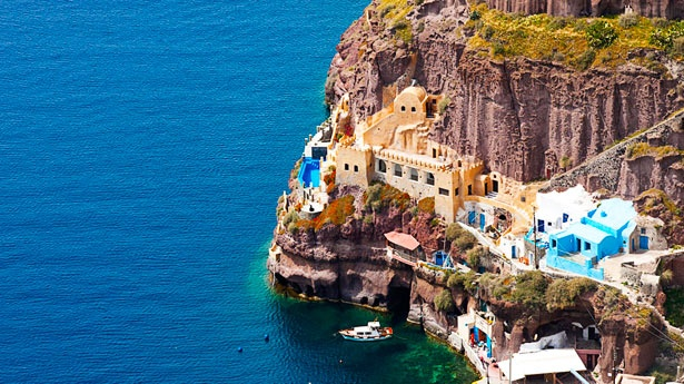 love.....: Athina Cliff, Santorini Greece, Cliff Side, Favorite Places, Beautiful Places, Beautiful Greece, Fira Port, Greek Islands, Athina Suits