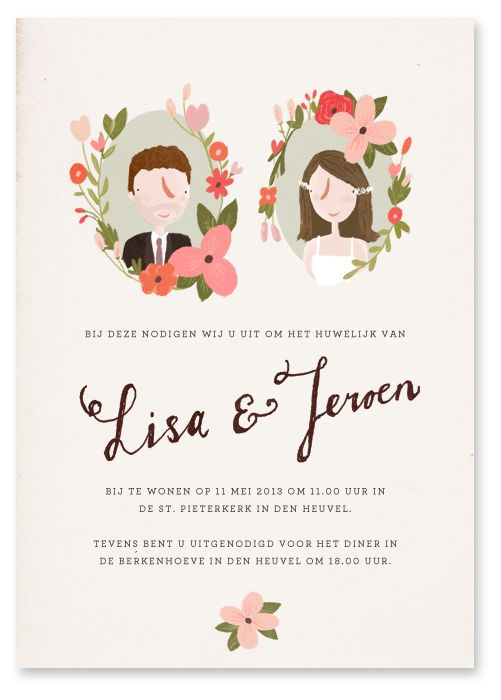 Custom illustration for wedding cards, made by Marloes de Vries