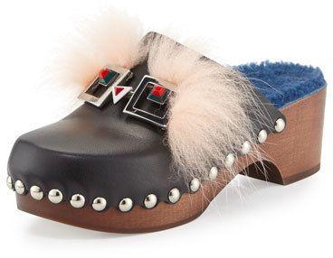 Fendi Fox-Fur Shearling-Lined Monster Clog, Nero/Cobalto/Palm