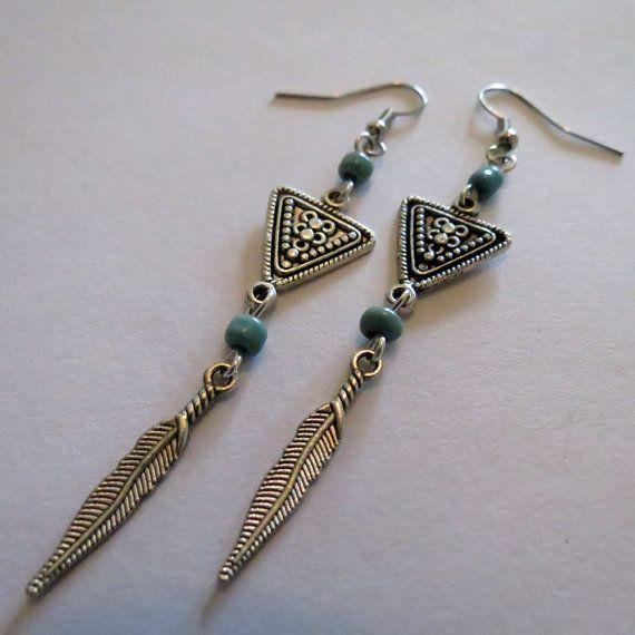 Lange Ohrringe Türkis aztekische Ohrringe Silber von YiskaDesigns