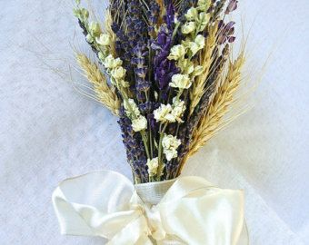 Bridesmaid or Flower Girl Bouquet of Ivory and Blue Violet Larkspur, Lavender, and Wheat in Ivory and Blue