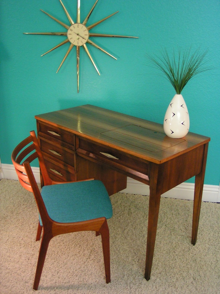 Sleek and Simple Lines: Vintage Mid Century Sewing/Desk Table Cabinet