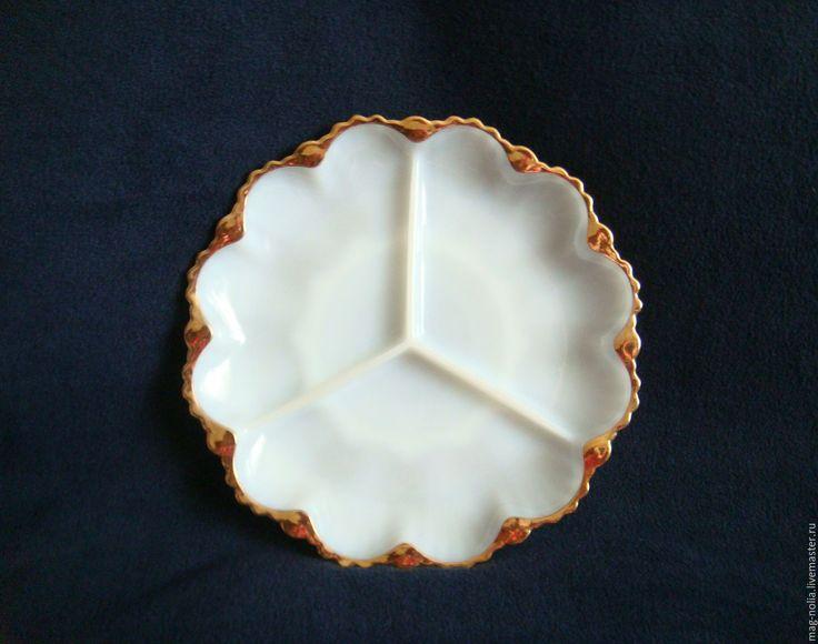 """Купить Менажница Блюдо Молочное Стекло """"ANCHOR"""" США - прессованное стекло, белый, блюдо винтаж"""