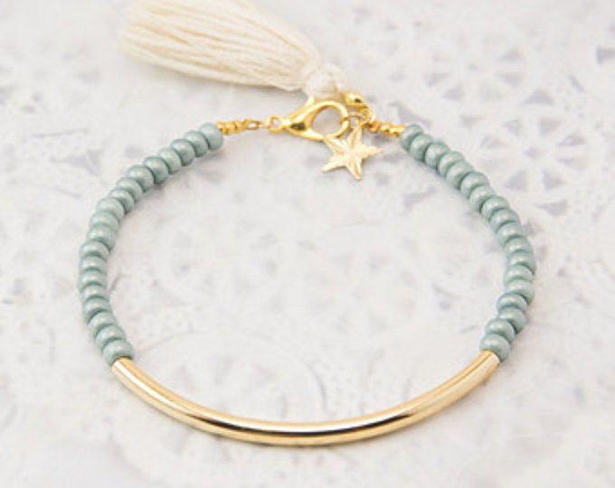 Pulsera tubo oro, pulsera de abalorios, abalorios brazalete pulsera borla, pulsera amistad, pulsera de perlas de semilla, brazalete de perlas de semilla