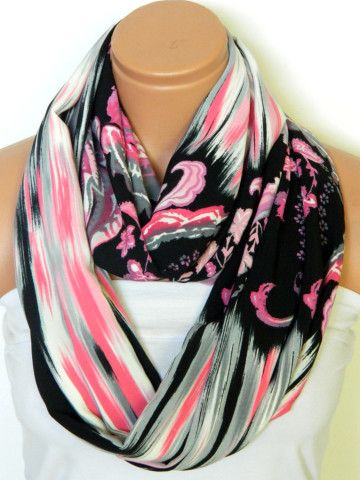 Pink and Black Scarves,Infinity Scarves,Loop Scarf,Circle Scarf,Chiffon Scarf,Cowl Scarf,Nomad Cowl.... Multicolor, eternity Scarf