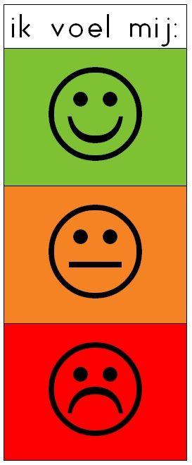 Emotiemeter. Met knijper kunnen de leerlingen aangeven hoe zij zich voelen.