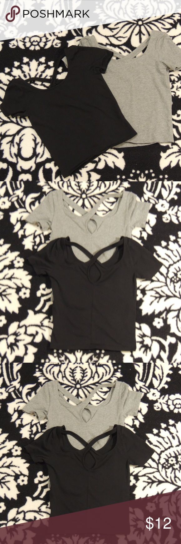Aeropostale (pair) of crop tops EUC set of two cotton crop tops. Black is a size S; Grey is a size XS they grey one is NWOT  ( I didn't notice that much of a difference when I bought them as far as size goes the both fit me about the same). Pairs great with a skater skirt or jeans. the back of the shirt has a crisscross back pattern smoke free home Aeropostale Tops Crop Tops