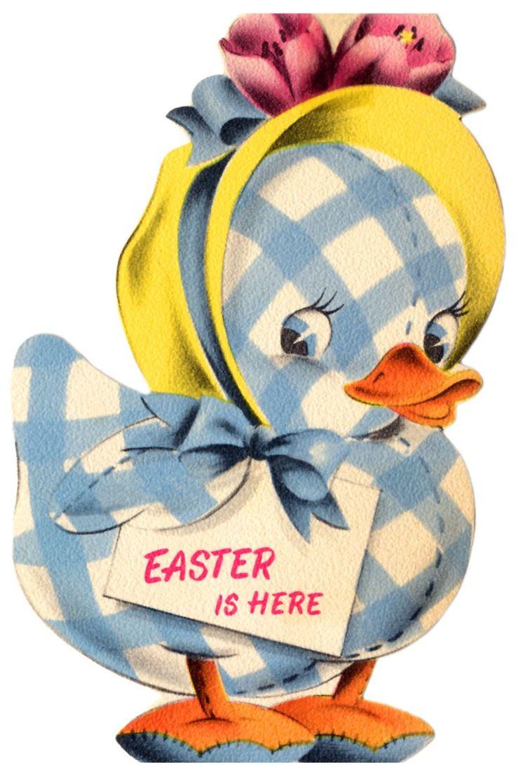vintage easter card - cute gingham duck