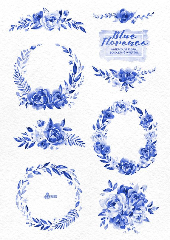 Blue Ink Florence. Watercolor Bouquets and Wreaths delft