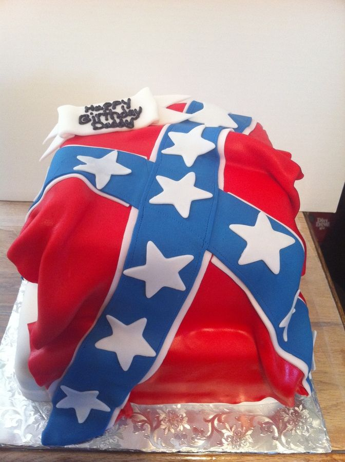 A cake i made for my daddys birthday. Fondant confederate flag. He loved it :)