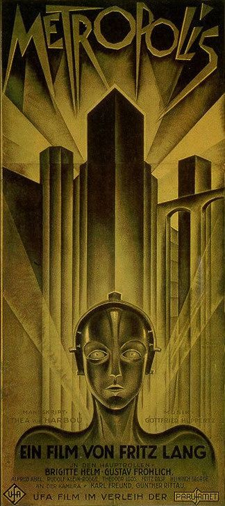 Metropolis (1927) -- the German edition of the poster, which had more information than the international version (that one had only the title and the UFA studio logo).