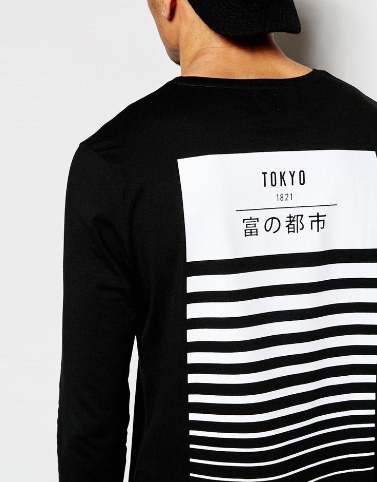 Imagen 3 de Camiseta larga de corte holgado con estampado trasero Tokyo y manga larga de ASOS