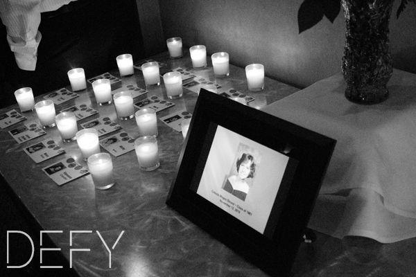 memorial display at a high school reunion