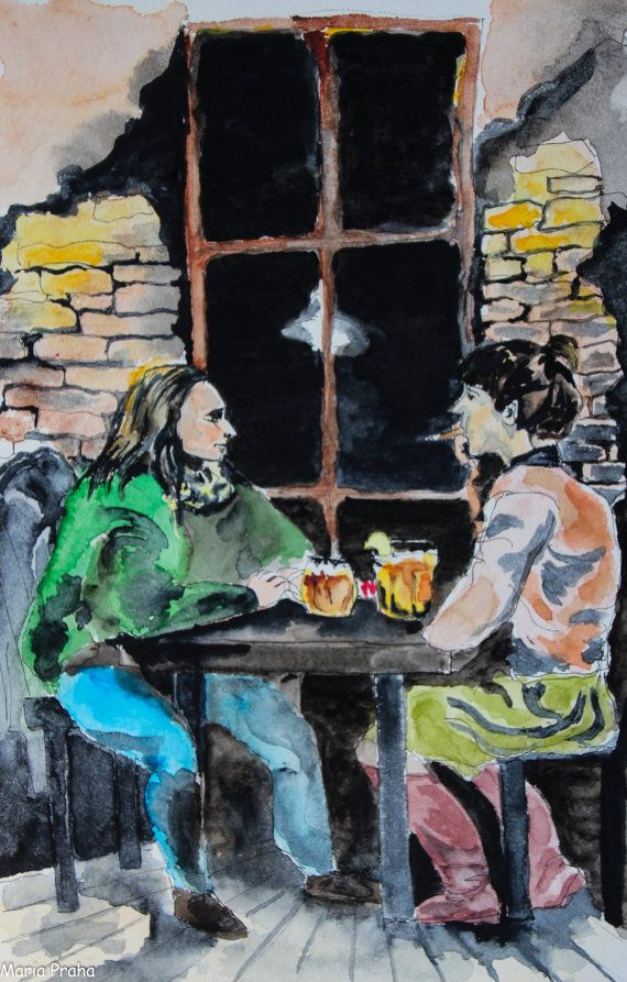 Original watercolour painting of two friends having a good time on a Friday night in a Prague pub Hlucna Samota in Vinogrady district.  Size: 15.3 x