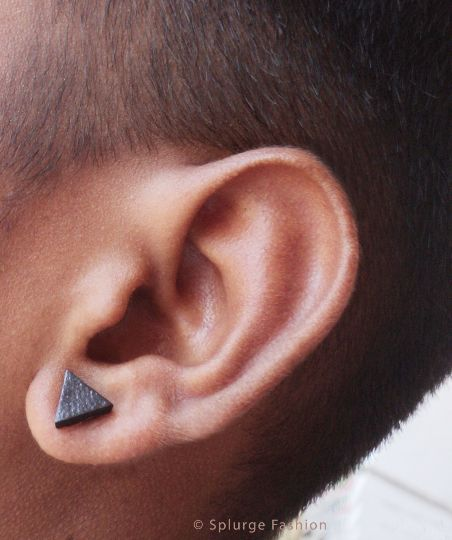 Designer Fashion Ear Stud - Black Triangle  - Magnet or Piercing? Funky Gothic High Fashion - Unisex HipHop Casual  Leather - New Hand Made by Splurge Fashion, $8.00 USD