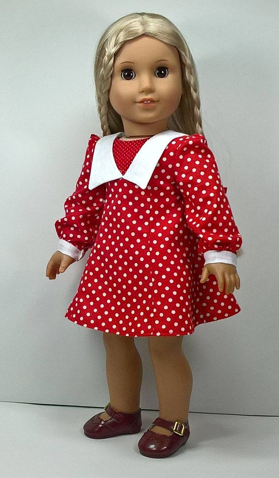 70s Style Sailor Collar Dress for 18 inch Dolls - This sale is for a dress that is styled after the 1970s era of fashion. The dress is flared with gores and princess lines with contrasting sailor collar and cuffs in the sleeves. The sleeves are gathered in the shoulder and at sleeve opening. The neckline has an insert in the same print as the dress. The sleeves have a snap closure and the dress has hook and loop closure in the back. The dress falls above the knees on doll. The fabric is a…