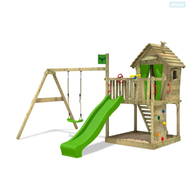 Wooden Climbing frame FATMOOSE DonkeyDome Double XXL with Swing and slide. Choose from a fantastic range of outdoor toys in our online shop. Expert advise.