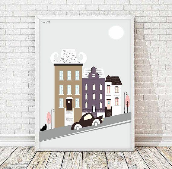 Poster ciudad, laminas a3, poster casas, poster coche, casas de colores, laminas decorativas, laminas imprimibles, poster imprimible,cuadros