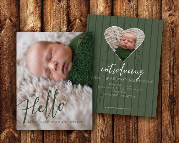Birth Announcement Custom Colors Newborn Announcement Photo Card Welcome New Baby Announcement Baby Boy Baby Girl - DIGITAL or PRINTED