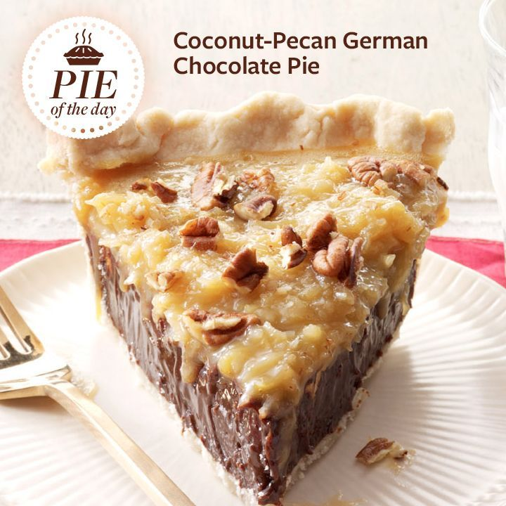 Coconut-Pecan German Chocolate Pie Recipe from Taste of Home -- shared by Anna Jones
