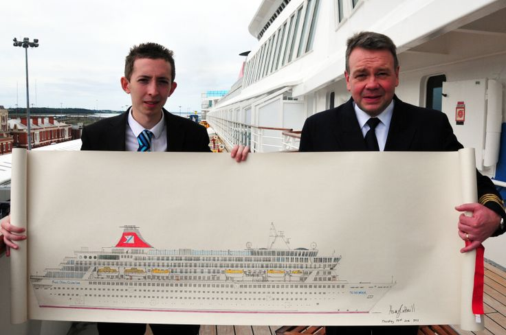 #HarryCotterill presents his drawing of #Balmoral to Fred. Olsen #Cruise Lines Captain at #Harwich in August 2011