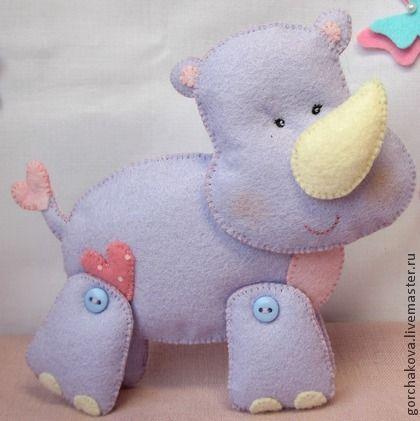 Носорог игрушка из фетра - игрушка из фетра,игрушка для детей,игрушка ручной работы