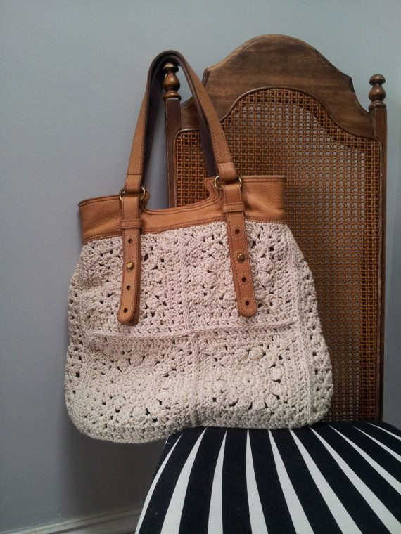 Leather and Crochet Bag by TheCostumeRoom on Etsy, €35.00