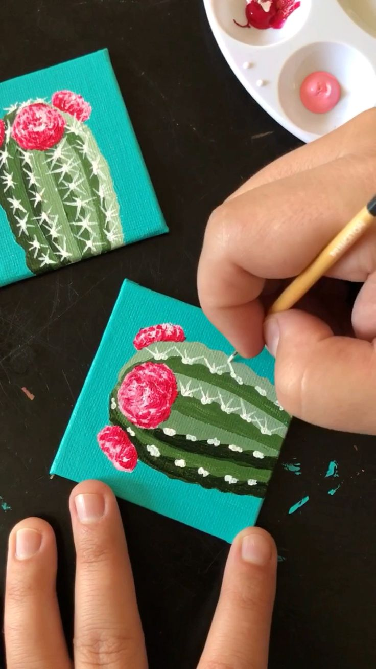 "Painting little cacti on 4×4"" canvas with acrylic by Philip Boelter"
