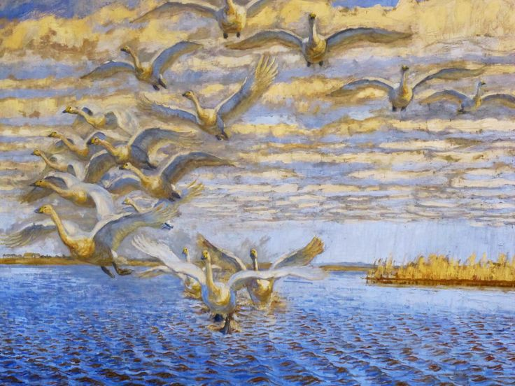 Johannes Larsen Museet, Kerteminde. Opflyvende sangsvaner. Filsø 1926. #visitfyn