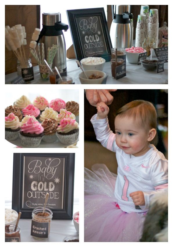 winter onederland birthday party, first birthday party winter theme, hot chocolate bar, cupcakes, birthday party ideas,