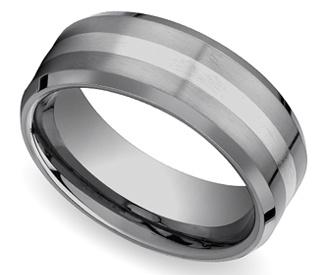 Beveled Men's Wedding Ring in Tungsten & 18K White Gold