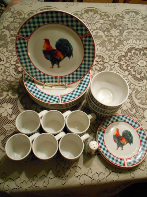 22 Pieces Rooster Motif Dinnerware with Checkerboard pattern Dinner/Salad plates & 308 best Rooster Cake Plates Serving Trays Dishes \u0026 Bowls images ...