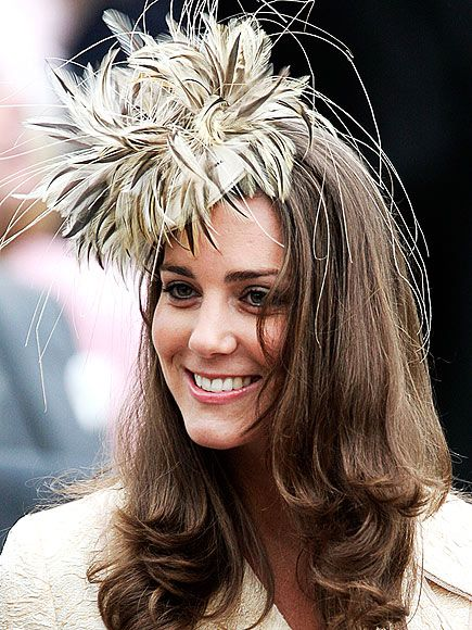 Kate in feathered fascinator