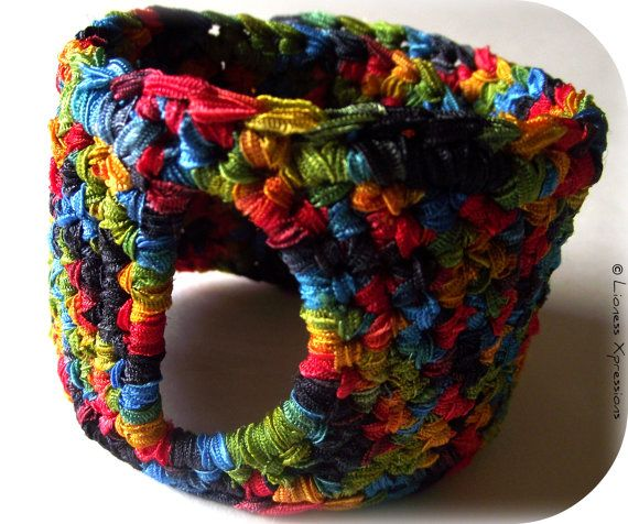 Retro Ribbon Crochet Cuff by LionessXpressions on Etsy