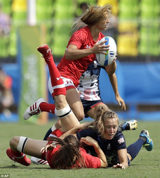 EAB tape is often used in Rugby to compress and support the knee and lower Quad. Here it is seen in the Olympic Rugby 7's.