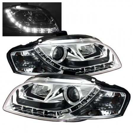 Spyder Auto 444-AA405-DRL-C | 2007 Audi A4 Chrome/Clear DRL LED Projector Headlights for Coupe/Sedan/Hatchback/Wagon