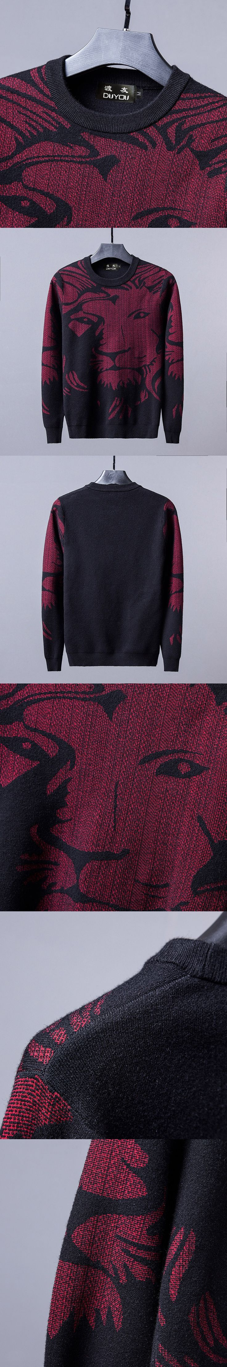PP Bag Packaging! Brand Men New Autumn Leisure Round neck Wool Pullover Color Matching Sweater Mens Lion King Sweater