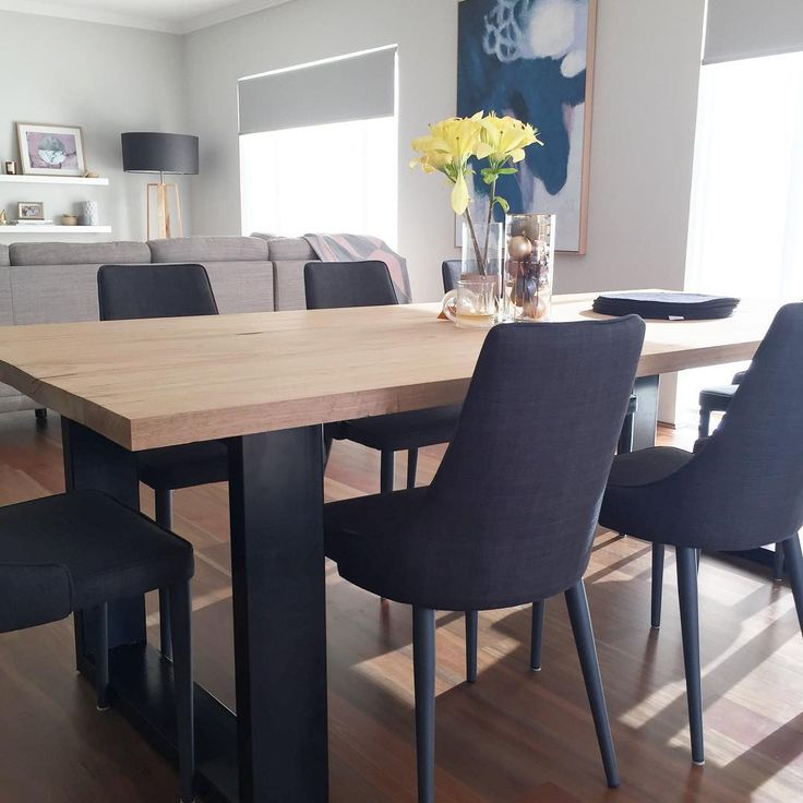 Dining Table with Black legs #timber #scandicstyle #dininginspo