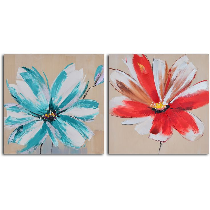 <li>Title: Teal and rouge flowers </li><li>Product type: Canvas Art</li><li>Style: Contemporary</li>
