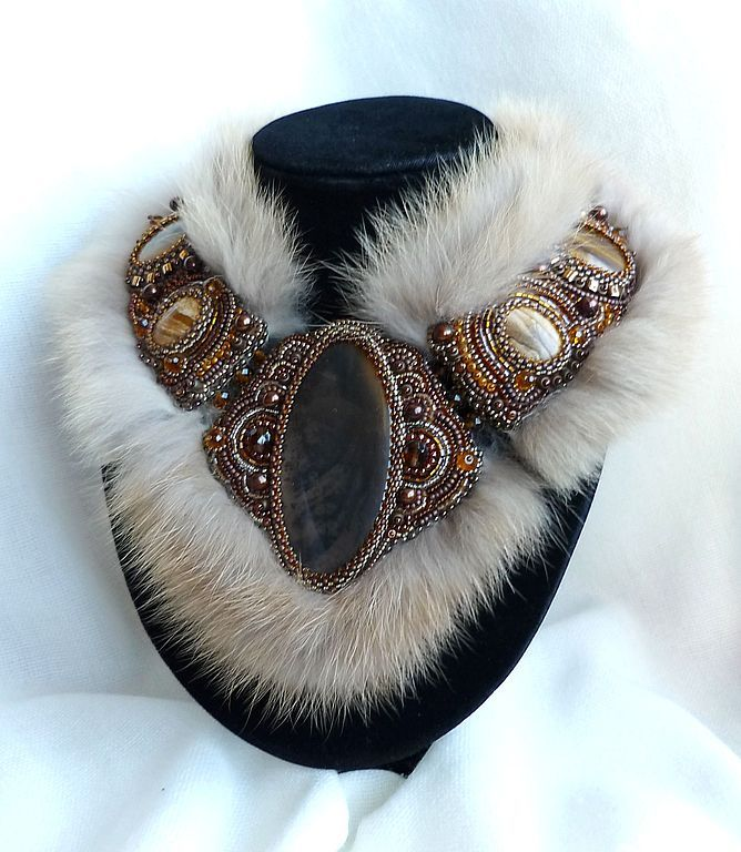 Necklace | Irina Cikina ~ Pro Pearl Designs.  Beadwork, with stones and fur.