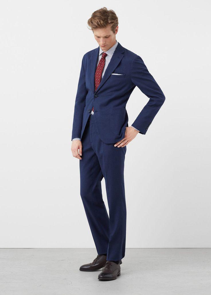 Americana traje slim-fit micro cuadro | MANGO MAN