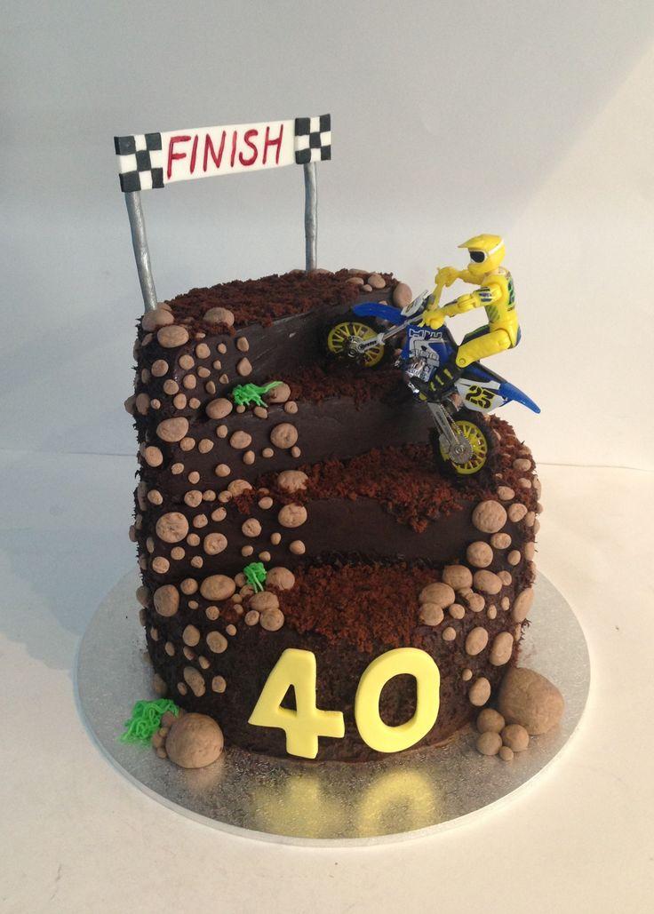 Dirt bike racing birthday cake I made. Had a lot of fun making this cake. The mud is chocolate ganache (Www.tiersofjoy.net.au)